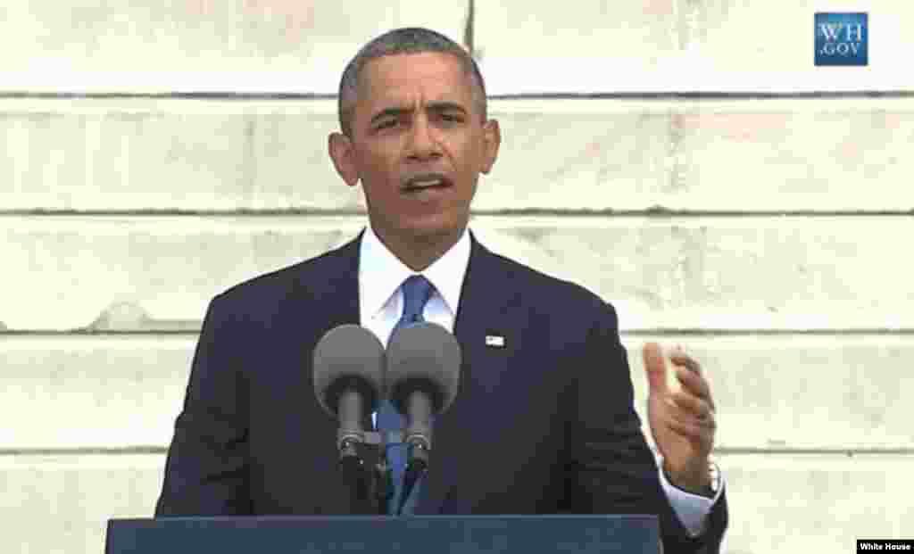 """El presidente de EE.UU., Barack Obama, durante su discurso en memoria del """"sueño"""" pronunciado por el líder estadounidense Martin Luther King Jr., hace 50 años en Washington."""