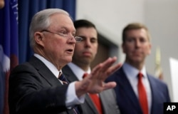 U.S. Attorney General Jeff Sessions speaks during a news conference in Cleveland, Ohio, Aug. 22, 2018.