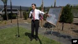 Presumptive Republican presidential nominee Mitt Romney at a news conference, Greer, South Carolina, Aug. 16, 2012.