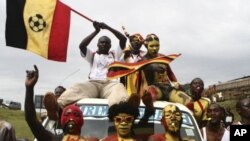 Supporters of the Uganda national football team chant slogans outside the Mandela national stadium before their match against Kenya's Harambee Stars in their Africa Cup of Nations Qualifier in Uganda's capital Kampala, October 8, 2011.
