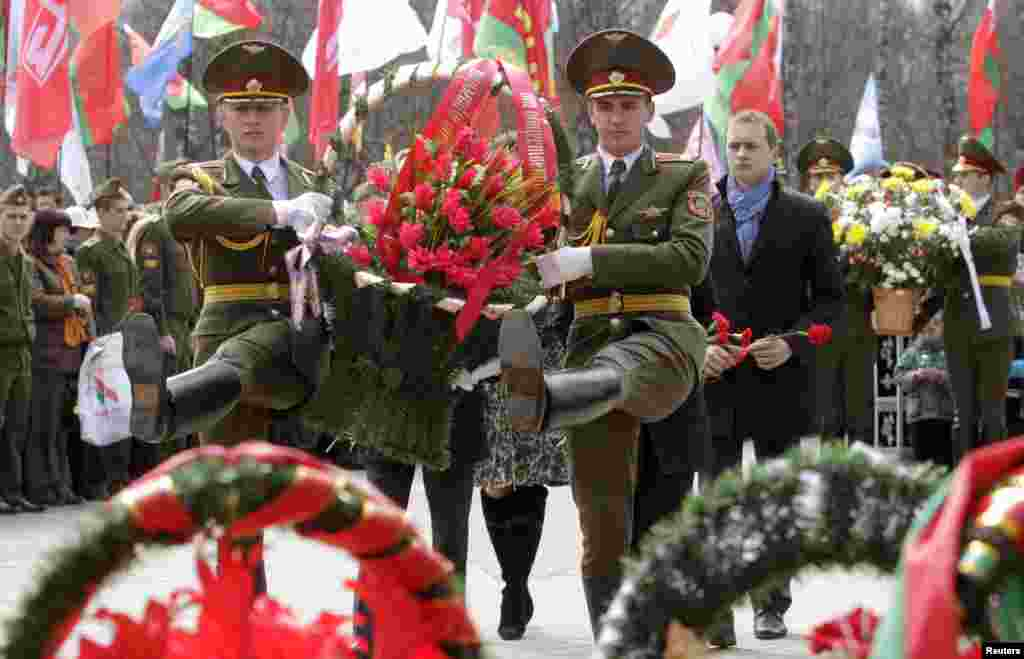 Guards of honor march with a wreath during a memorial ceremony for Chernobyl victims in Minsk, Belarus. Belarus, Ukraine and Russia marked the 27th anniversary of the Chernobyl disaster, the world's worst civil nuclear accident.