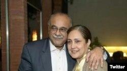 پنجاب اسمبلی کی نو منتخب رکن جگنو محسن اپنے شوہر نجم سیٹھی کے ساتھ۔