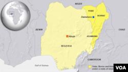 Peta negara bagian Adamawa, di Nigeria timur laut, tempat terjadinya ledakan Kamis (27/11).