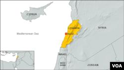 Peta wilayah Lebanon dan negara-negara sekitarnya.