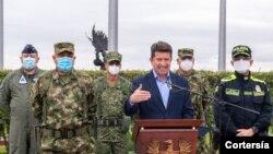 Declaración del Ministro de Defensa de Colombia, Diego Molano, sobre el fallecimiento de alias 'Fabián'. [Foto: Cortesía del Ministerio de Defensa de Colombia]