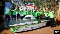 FILE - Excited Engineering students of the College of Agriculture,Engineering and Science from the University of Kwazulu-Natal ( UKZN) officially launched the Hulamin Solar Car at the UKZN on July 15, 2015, in Durban.The Solar Car, the first entrant in Africa will be taking part in the 2015 World Solar Challenge being held in Australia from October 18 to 25, 2015.