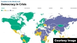 "Screenshot of the ""Freedom in the World 2018"" report, released on January 16."