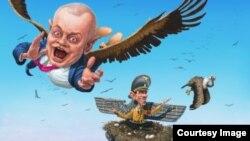 Карикатура Андрія Левченка. «Пташеня Ґеббельса – Дмитро Кисельов»
