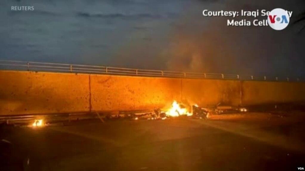 Последствия атаки на аэропорт Багдада, в результате которой погиб Касем Сулеймани