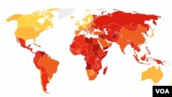 L'index de perceptions de la corruption, Transparency International 2016.