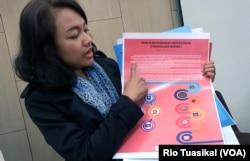 Koordinator Task Force Jawa Barat Ni Loh Gusti Madewanti menunjukkan hasil pemetaannya terhadap 16 parpol. Hanya 1 partai yang memiliki platform toleransi yang jelas. (Foto: Rio Tuasikal/VOA)