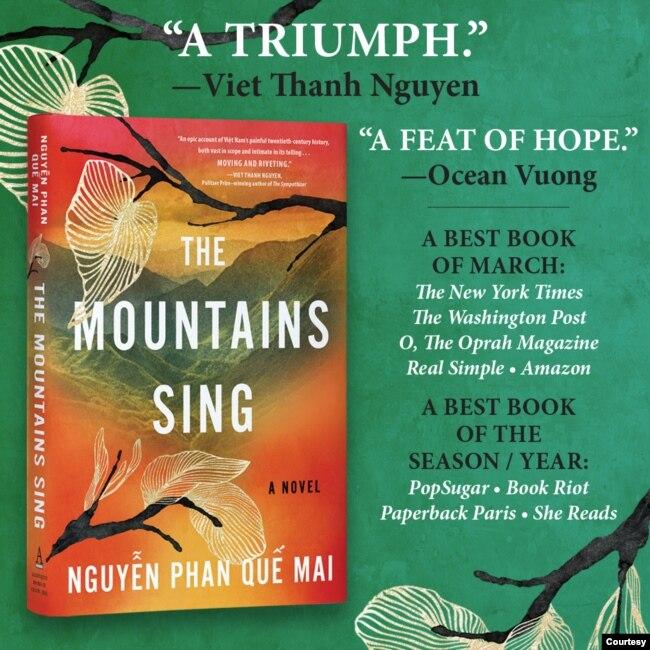 """Bìa cuốn sách """"The Mountains Sing"""" (Những ngọn núi ngân vang) của Nguyễn Phan Quế Mai."""