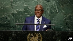 Le président Ibrahim Boubacar Keita aux Nations Unies le lundi 28 septembre 2015. (AP Photo/Frank Franklin II)