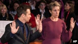 Actors Sam Rockwell and Frances McDormand, right, pose for photographers upon arrival at the premiere of the film 'Three Billboards Outside Ebbing, Missouri' showing as part of the closing gala of the BFI London Film Festival n London, Sunday, Oct. 15, 20