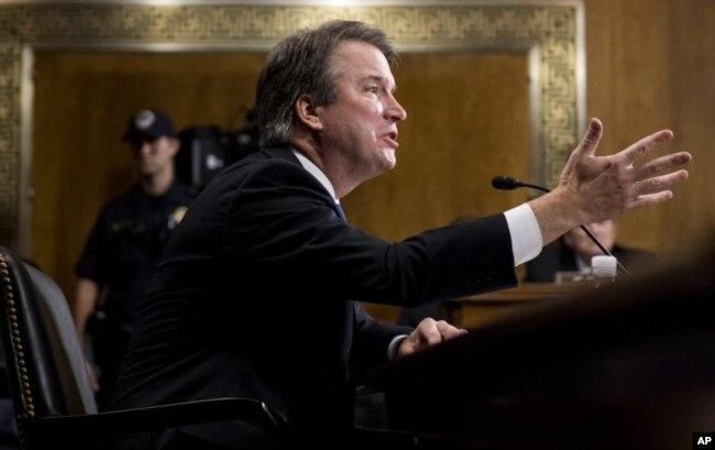 Brett Kavanaugh nominado para la Corte Suprema de EE.UU. asistió a la audiencia por su confirmación el 27 de septiembre de 2018 ante la Comisión Judicial del Senado.