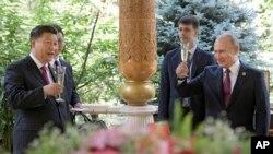 တ႐ုတ္သမၼတ Xi Jinping ေမြးေန႔ပဲြကို ႐ုရွားသမၼတ Vladimir Putin အတူက်င္းပေနပံု (ဇြန္၊ ၁၄၊ ၂၀၁၉)