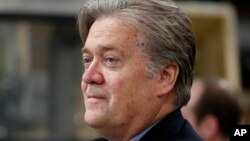 FILE - Steve Bannon, chief White House strategist to President Donald Trump, is seen in Harrisburg, Pa., April 29, 2017. Bannon says there's no military solution to North Korea's threats and says the U.S. is losing the economic race against China.