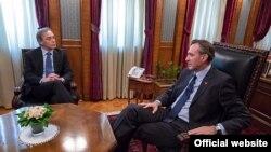 Lider Demokratskog fronta Miodrag Lekić tokom susreta sa predsednikom Skupštine Crne Gore Ranko Krivokapić (Skupština Crne Gore)