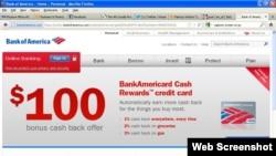 Halaman depan situs Bank of America, bankofamerica.com.