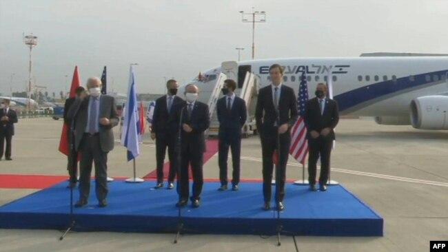 La cérémonie d'inauguration du premier vol commercial entre Israël et le Maroc en présence de Jared Kushner, gendre du président américain Donald Trump, le 22 décembre 2020.
