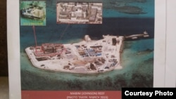 FILE - Philippine military's images of China's reclamation in the Spratlys, Mabini (Johnson) Reef, March, 2015. (Armed Forces of the Philippines)