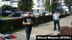 Bosnia-Herzegovina -- Davor Dragicevic, the father of murdered 21-year-old David, at the protest in Banja Luka (Banjaluka), September 20, 2018.