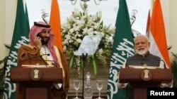 سعودی کراؤن پرنس محمد بن سلمان اور بھارتی وزیر اعظم نریندر مودی نئی دہلی کے حیدر آباد ہاؤس میں ایک تقریب کے دوران۔ 20 فروری 2019