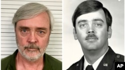 This combination of photos provided by the U.S. Air Force Office of Special Investigations shows William Howard Hughes Jr., after being captured in June 2018, at left, and an image from his time at the U.S. Air Force.
