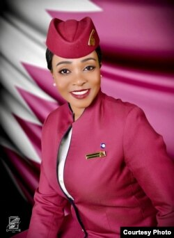 UNkosazana Precious Sibalo ngesikhathi esebenza eQatar Airways. (Courtesy Photo: Precious Sibalo)