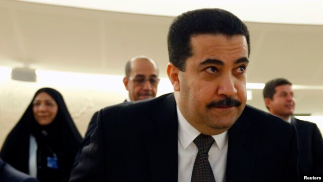 Iraq's Human Rights Minister Mohammed Shia al-Sudani arrives for a special session of the Human Rights Council on Iraq at the United Nations Europeans headquarters in Geneva Sep. 1, 2014.