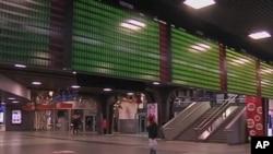 比利時公交系統員工星期四舉行罷工﹐機場大堂顯得冷清。