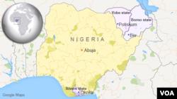 尼日利亞地圖。