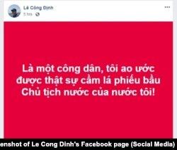 Nhà hoạt động Lê Công Định bày tỏ quan điểm trên Facebook về bầu chủ tịch nước, 22/10/2018