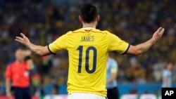 James Rodríguez es el máximo goleador del Mundial, con cinco goles en cuatro juegos.