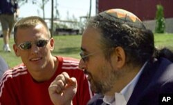 """In this still photograph from the documentary """"Freaks Like Us,"""" Rabbi Hirschfield teaches youth at the quadrennial Parliament of the World's Religions in Barcelona, Spain about the spirit of inclusion and respect for others, whatever their beliefs"""