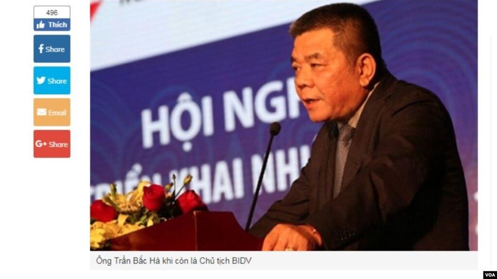 Trần Bắc Hà thời còn làm chủ tịch BIVD. (Hình chụp từ trang VietnamFinance.vn)