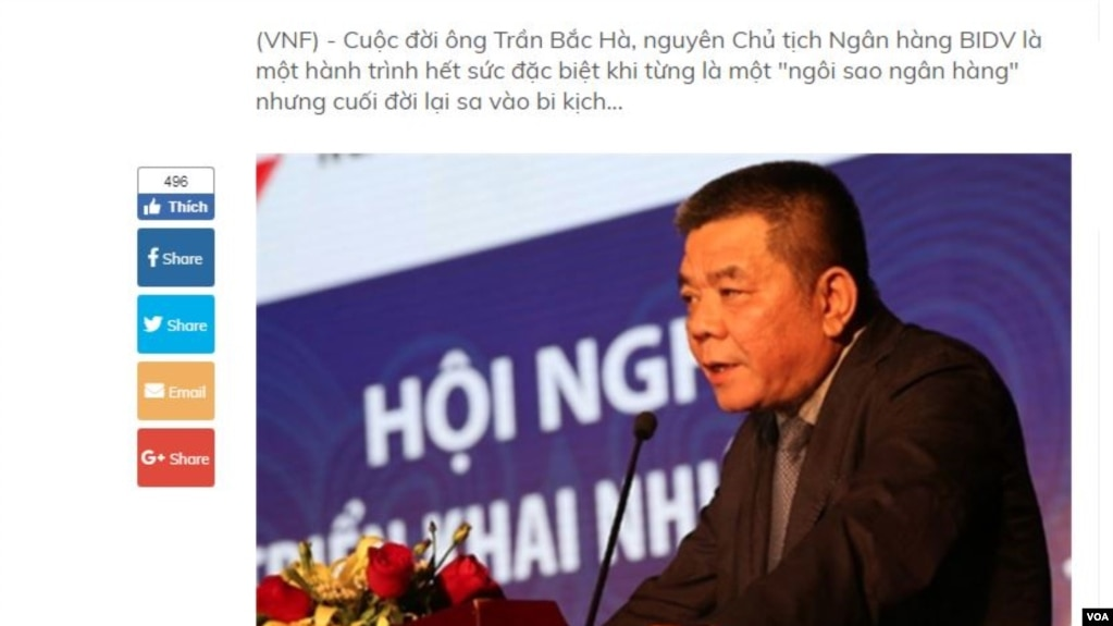 Trần Bắc Hà thời còn làm chủ tịch BIVD. (Hìn: Screenshot từ VietnamFinance.vn)