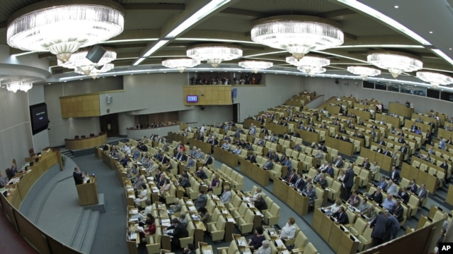 Members of the State Duma, lower parliament chamber, is seen during a session in Moscow, Russia, July 10, 2012.