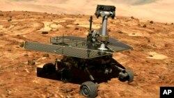 Archivo - En esta ilustración divulgada por NASA se ve la sonda Opportunity en la superficie de Marte.