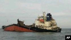 南韓一艘油輪爆炸沉沒。