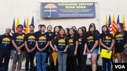 越南裔美國青年支持香港學生(美國之音國符拍攝)