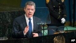 El presidente de Colombia Juan Manuel Santos, habla a la 72 Asamblea General de las Naciones Unidas. Septiembre 19, 2017.