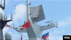 中國和俄羅斯5月18日星期一繼續在地中海舉行2015海上聯合軍演。(視頻截圖)