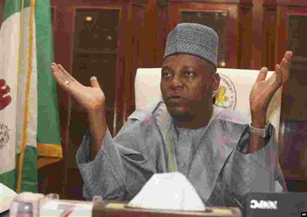 Borno state Gov. Kashim Shettima, speaks to the Associated Press during an interview at the Government house in Maiduguri, Nigeria, Wednesday, Sept, 28. 2011. Security forces arrested a top commander of a radical Muslim sect who ordered killings in the no