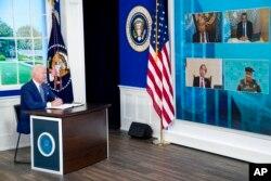 صدر بائیڈن ورچوئل کانفرنس میں خطاب کر رہے ہیں۔ 22 ستمبر 2021