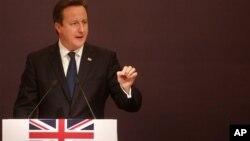 18일 인도 뭄바이의 비지니스 세미나에서 연설한 데이비드 카메론 영국 총리.