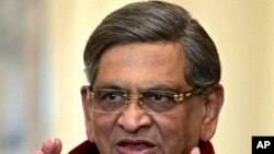 Indian Foreign Minister S.M. Krishna speaks during a news conference (file photo)