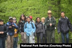 NPS Director Jonathan Jarvis during a wilderness walk with students at Prince William Forest Park, Virginia