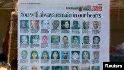 Guntingan surat kabar memperlihatkan para korban yang dibunuh dalam penyerangan di Mal Westgate, Kenya, Nairobi (30/9). (Reuters/Thomas Mukoya)