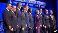 参加由MSNBC主持的第三场辩论的共和党总统参选人.(2015年10月28日资料照)